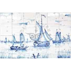 Boat & Landscape Scene Mural 6×4 Tiles