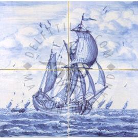 Sailing Boat  Mural 2×2 Tiles