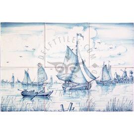 Boat Scene Mural 3×2 Tiles