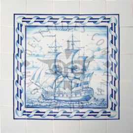 Three Masted Ship Panel With Border 3×3 Tiles