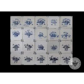 Antique Delft Tiles Set #32 – Floral Baskets