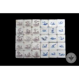 Antique Delft Tiles Set #49 – Fish Mermaid Tiles