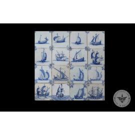 Antique Delft Tiles Set #64 – Three Masted Ships