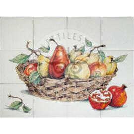 Apples Pears Pomegranate Panel 4×3 Tiles (HF12b)