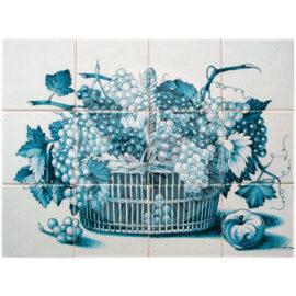 Grapes & Branches Rush Basket Blue Tile Panel 4×3 Tiles (HF12h)