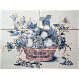 Blue Fruit Grapes Rush Basket Panel 4×3 Tiles (HF12k)