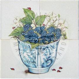 Blackberries In Bowl Panel 2×2 Tiles (HF4e)