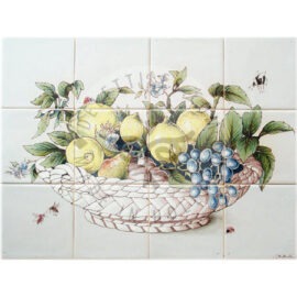 Ceramic Bowl Fruits & Insects Panel 4×3 Tiles (HF12a)