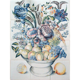 Bowl With Fruits & Flowers 3×4 Tiles (HB12a_mc)