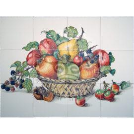 Basket With Various Fruits Panel 4×3 Tiles (HF12j)