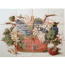 Grapes & Branches Rush Basket Tile Mural 4×3 Tiles (HF12_mc)