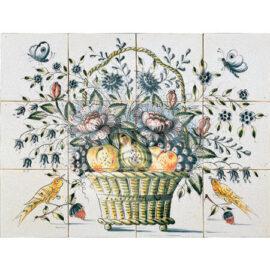 Fruit Flower Birds Basket 4×3 Tiles (HBM12b_mc)