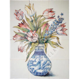 Bouquet Tulips In Chinese Vase 3×4 Tiles (HB12d)