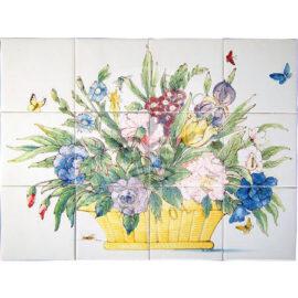 Colorful Flower Basket 4×3 Tiles (HBM12a)