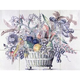 Fruit Flower Bird Basket 4×3 Tiles (HBM12c_mc)