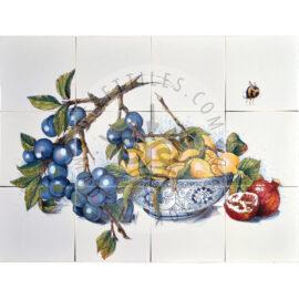 Plum Lemon Pomgranate Fruits Panel 4×3 Tiles (HF12o_mc)