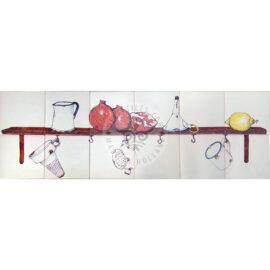 Shelf With Pomegranate & Lemon Panel 6×2 Tiles (HE12e)