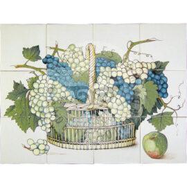 Grapes Basket Blue & Green Tile Panel 4×3 Tiles (HF12h_bg)