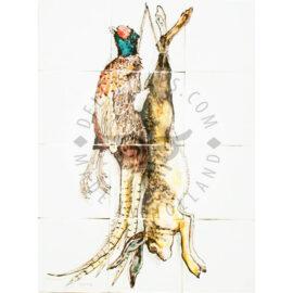 Hanging Pheasant & Hare 3×4 Tiles