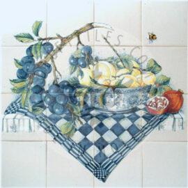 Plum Branch Lemons Pomegranate Panel 4×4 Tiles (HF16b)