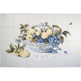 Lemons In Ceramic Bowl Tile Mural 6×4 Tiles (HF24a)