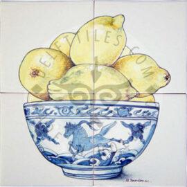 Bowl With Lemons Panel 2×2 Tiles (HF4a)