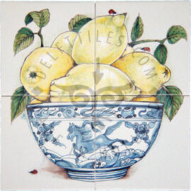 Bowl Lemons & Ladybugs Panel 2×2 Tiles (HF4b)