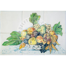 Mixed Fruit Bowl On Marble Panel 3×2 Tiles (HF6c)