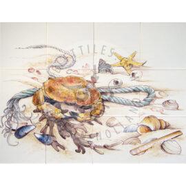 Beach Scene With Crab 4×3 Tiles