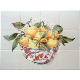 Ceramic Bowl With Oranges Tile Panel 4×3 Tiles (HF12f)