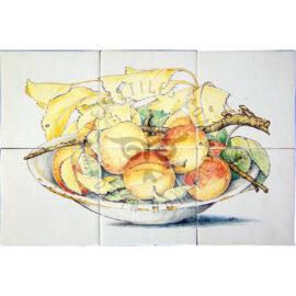 Peaches On Bowl Panel 3×2 Tiles (HF6e)