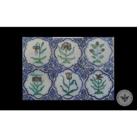 Antique Delft Tiles Set #77 – Polychrome Flowers