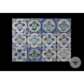 Antique Delft Tiles Set #78 – Polychrome Flowers