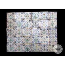 Antique Delft Tiles Set #73 – Polychrome Flowers