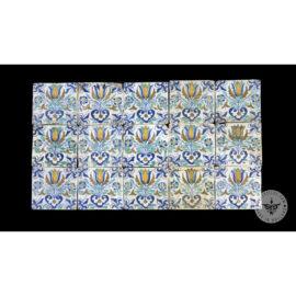 Antique Delft Tiles Set #74 – Polychrome Tulips