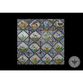 Antique Delft Tiles Set #75 – Polychrome Animal In Diamond