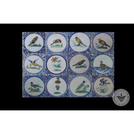 Antique Delft Tiles Set #76 – Polychrome Bird In Circle