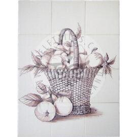 Fruit Basket Apples Sepia Panel 3×4 Tiles (FM12g_s)
