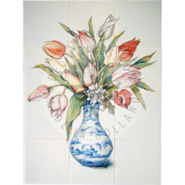 Bouquet Tulips In Chinese Vase 3×4 Tiles (HB12c)
