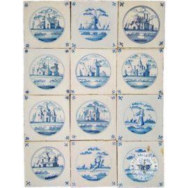 Delft Blue Landscape In Circle Tiles #L5