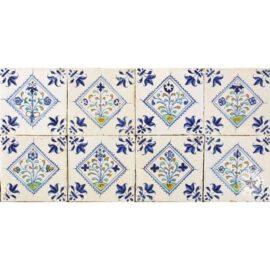 17th Century Flower In Square Tiles #B12