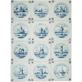 Delft Blue Landscape In Circle Tiles #L6