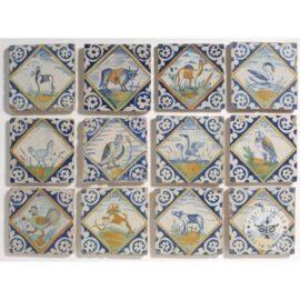 Various Polychrome Delft Tiles  #D36