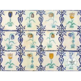 Twelve 17th Century Antique Flower Tiles #B14