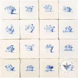 16 Antique Delft Blue Fruit Basket Tiles #B24
