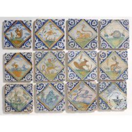 Antique 17th Polychrome Diamond Delft Tiles  #D12
