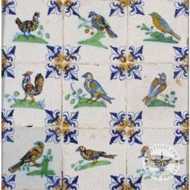 Antique Polychrome Fleur De Lisse Delft Tiles  #D13