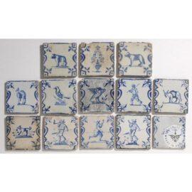 14 17th Century Antique Delft Tiles  #D14
