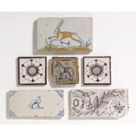 Animals On Border Dutch Delft Tiles  #D28