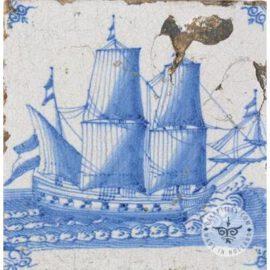 Antique Delft Boat Tile #S10